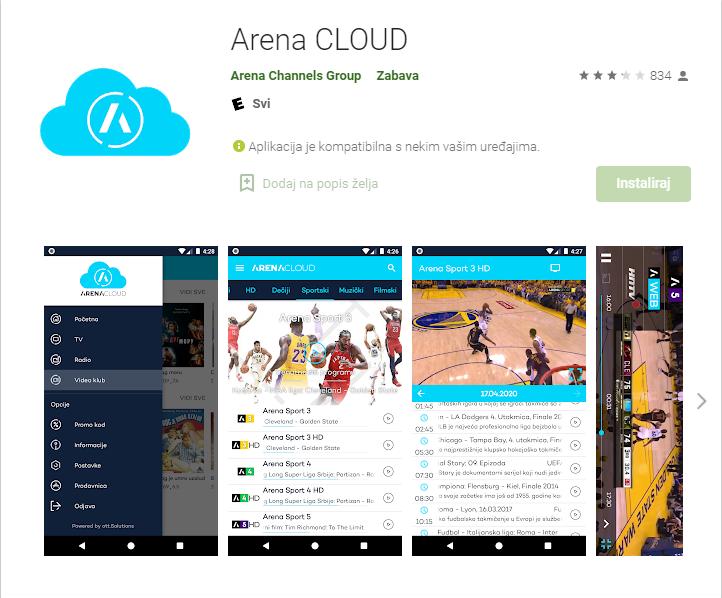 Svi koji i dalje žele pratiti kanale Arene Sport mogu to učiniti putem aplikacije Arena CLOUD